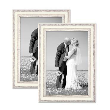 2er Set Bilderrahmen Shabby-Chic Landhaus-Stil Weiss 21x30 cm / DIN A4 Massivholz mit Glasscheibe und Zubehör / Fotorahmen
