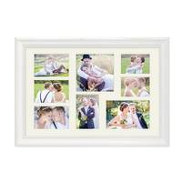Fotocollage-Bilderrahmen 30x45 cm im Landhaus-Stil Weiss Collagerahmen Bildergalerie-Rahmen für 8 Bilder Wechselrahmen mit Passepartout – Bild 1