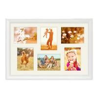 Fotocollage-Bilderrahmen 40x60 cm im Landhaus-Stil Weiss Collagerahmen Bildergalerie-Rahmen für 6 Bilder Wechselrahmen mit Passepartout – Bild 1