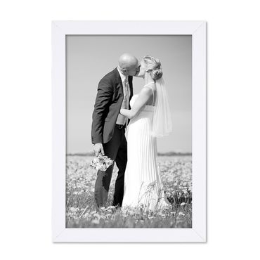 Bilderrahmen 21x30 cm / DIN A4 Weiss Modern aus MDF mit Glasscheibe und Zubehör / Fotorahmen