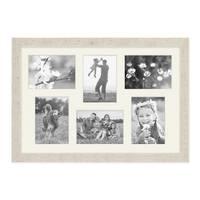 Fotocollage-Bilderrahmen 40x60 cm im Strandhaus-Stil Weiss Collagerahmen Bildergalerie-Rahmen für 6 Bilder Wechselrahmen mit Passepartout – Bild 3