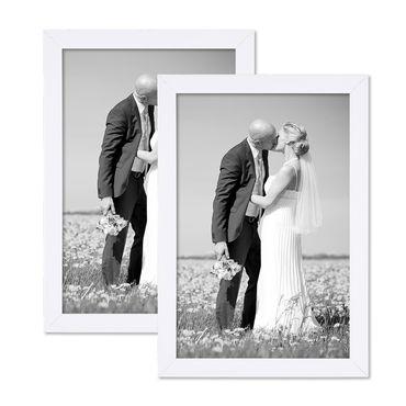 2er Set Bilderrahmen 21x30 cm / DIN A4 Weiss Modern aus MDF mit Glasscheibe und Zubehör / Fotorahmen