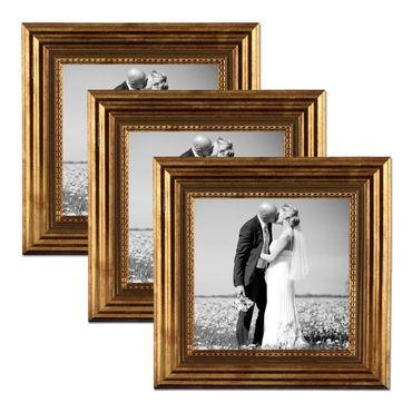 3er Set Bilderrahmen 10x10 cm Gold Barock Antik Massivholz mit Glasscheibe und Zubehör / Fotorahmen / Barock-Rahmen