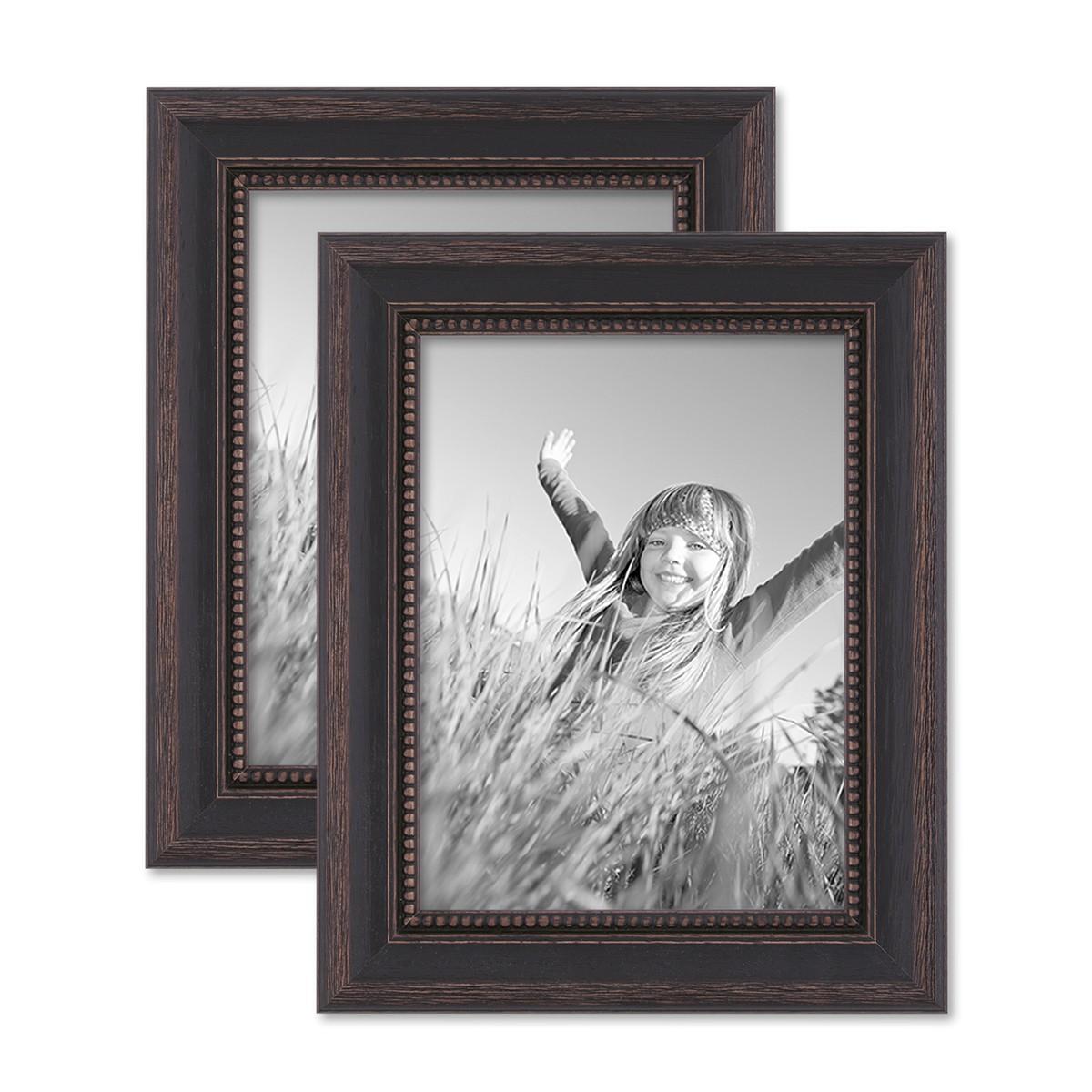 2er Set Bilderrahmen 15x20 Cm Shabby Chic Landhaus Stil Dunkelbraun  Massivholz Mit Glasscheibe Und