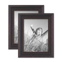 2er Set Bilderrahmen 15x20 cm Shabby-Chic Landhaus-Stil Dunkelbraun Massivholz mit Glasscheibe und Zubehör / Fotorahmen  – Bild 1