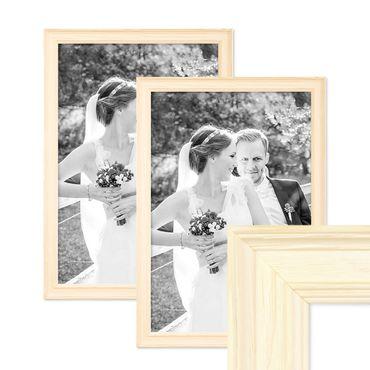 2er Set Bilderrahmen Skandinavischer Landhaus-Stil Weiss 30x45 cm Massivholz mit Shabby-Chic Note / Fotorahmen / Wechselrahmen
