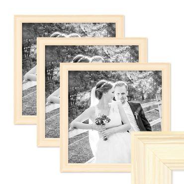 3er Set Bilderrahmen Skandinavischer Landhaus-Stil Weiss 30x30 cm Massivholz mit Shabby-Chic Note / Fotorahmen / Wechselrahmen