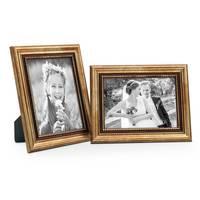 2er Set Bilderrahmen 15x20 cm Gold Barock Antik Massivholz mit Glasscheibe und Zubehör / Fotorahmen / Barock-Rahmen  – Bild 5
