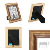 2er Set Bilderrahmen 15x20 cm Gold Barock Antik Massivholz mit Glasscheibe und Zubehör / Fotorahmen / Barock-Rahmen  – Bild 2