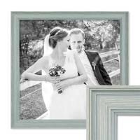Bilderrahmen Skandinavischer Landhaus-Stil Petrol / Taubenblau 30x30 cm Massivholz mit Shabby-Chic Note / Fotorahmen / Wechselrahmen – Bild 1