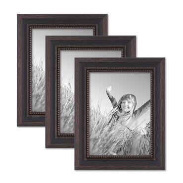 3er Set Bilderrahmen 15x20 cm Shabby-Chic Landhaus-Stil Dunkelbraun Massivholz mit Glasscheibe und Zubehör / Fotorahmen