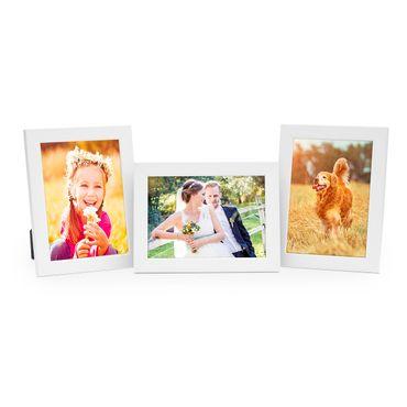 3er Set Bilderrahmen 15x20 cm Weiss Modern aus MDF mit Glasscheibe und Zubehör / Fotorahmen