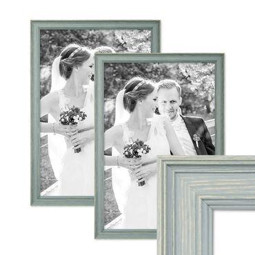 2er Set Bilderrahmen Skandinavischer Landhaus-Stil Petrol / Taubenblau 30x45 cm Massivholz mit Shabby-Chic Note / Fotorahmen / Wechselrahmen