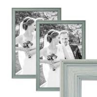 2er Set Bilderrahmen Skandinavischer Landhaus-Stil Petrol / Taubenblau 30x45 cm Massivholz mit Shabby-Chic Note / Fotorahmen / Wechselrahmen – Bild 1