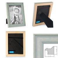 3er Set Bilderrahmen Skandinavischer Landhaus-Stil Petrol / Taubenblau 10x10 cm Massivholz mit Shabby-Chic Note / Fotorahmen / Wechselrahmen – Bild 2