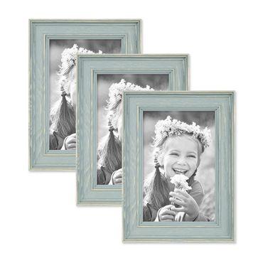 3er Set Bilderrahmen Skandinavischer Landhaus-Stil Petrol / Taubenblau 10x15 cm Massivholz mit Shabby-Chic Note / Fotorahmen / Wechselrahmen