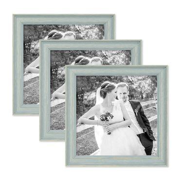 3er Set Bilderrahmen Skandinavischer Landhaus-Stil Petrol / Taubenblau 20x20 cm Massivholz mit Shabby-Chic Note / Fotorahmen / Wechselrahmen