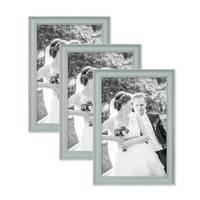 3er Set Bilderrahmen Skandinavischer Landhaus-Stil Petrol / Taubenblau 20x30 cm Massivholz mit Shabby-Chic Note / Fotorahmen / Wechselrahmen – Bild 1