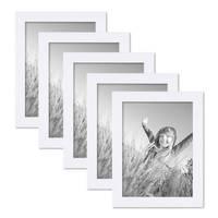 5er Set Bilderrahmen 15x20 cm Weiss Modern aus MDF mit Glasscheibe und Zubehör / Fotorahmen  – Bild 1