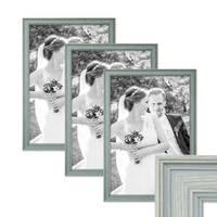 3er Set Bilderrahmen Skandinavischer Landhaus-Stil Petrol / Taubenblau 30x40 cm Massivholz mit Shabby-Chic Note / Fotorahmen / Wechselrahmen – Bild 1