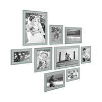 9er Set Bilderrahmen Skandinavischer Landhaus-Stil Petrol / Taubenblau 10x15 bis 20x30 cm inklusive Zubehör / Fotorahmen / Wechselrahmen – Bild 3