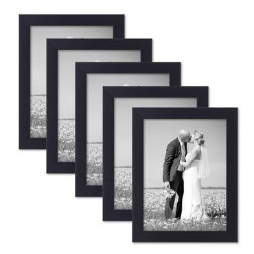 5er Set Bilderrahmen 15x20 cm Schwarz Modern aus MDF mit Glasscheibe und Zubehör / Fotorahmen