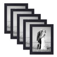 5er Set Bilderrahmen 15x20 cm Schwarz Modern aus MDF mit Glasscheibe und Zubehör / Fotorahmen  – Bild 1