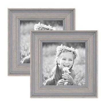 2er Set Bilderrahmen Skandinavischer Landhaus-Stil Grau-Braun 10x10 cm Massivholz mit Shabby-Chic Note / Fotorahmen / Wechselrahmen