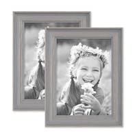 2er Set Bilderrahmen Skandinavischer Landhaus-Stil Grau-Braun 13x18 cm Massivholz mit Shabby-Chic Note / Fotorahmen / Wechselrahmen