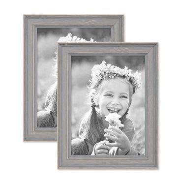2er Set Bilderrahmen Skandinavischer Landhaus-Stil Grau-Braun 15x20 cm Massivholz mit Shabby-Chic Note / Fotorahmen / Wechselrahmen