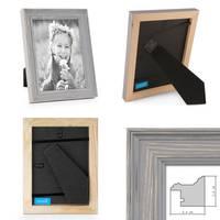 2er Set Bilderrahmen Skandinavischer Landhaus-Stil Grau-Braun 15x20 cm Massivholz mit Shabby-Chic Note / Fotorahmen / Wechselrahmen – Bild 2