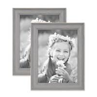 2er Set Bilderrahmen Skandinavischer Landhaus-Stil Grau-Braun 15x20 cm Massivholz mit Shabby-Chic Note / Fotorahmen / Wechselrahmen – Bild 1