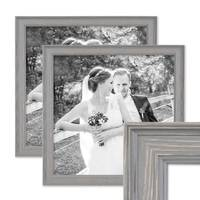 2er Set Bilderrahmen Skandinavischer Landhaus-Stil Grau-Braun 30x30 cm Massivholz mit Shabby-Chic Note / Fotorahmen / Wechselrahmen – Bild 1