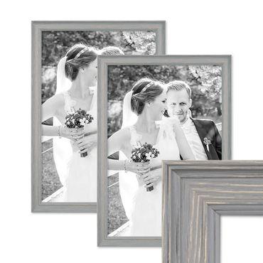 2er Set Bilderrahmen Skandinavischer Landhaus-Stil Grau-Braun 30x42 cm / DIN A3 Massivholz mit Shabby-Chic Note / Fotorahmen / Wechselrahmen