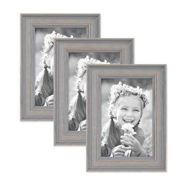 3er Set Bilderrahmen Skandinavischer Landhaus-Stil Grau-Braun 10x15 cm Massivholz mit Shabby-Chic Note / Fotorahmen / Wechselrahmen