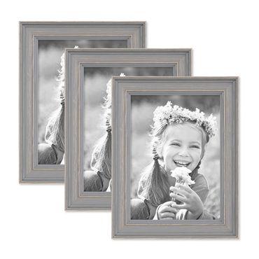 3er Set Bilderrahmen Skandinavischer Landhaus-Stil Grau-Braun 13x18 cm Massivholz mit Shabby-Chic Note / Fotorahmen / Wechselrahmen