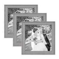 3er Set Bilderrahmen Skandinavischer Landhaus-Stil Grau-Braun 20x20 cm Massivholz mit Shabby-Chic Note / Fotorahmen / Wechselrahmen – Bild 1
