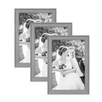 3er Set Bilderrahmen Skandinavischer Landhaus-Stil Grau-Braun 20x30 cm Massivholz mit Shabby-Chic Note / Fotorahmen / Wechselrahmen – Bild 1