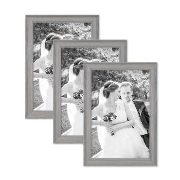 3er Set Bilderrahmen Skandinavischer Landhaus-Stil Grau-Braun 21x30 cm / DIN A4 Massivholz mit Shabby-Chic Note / Fotorahmen / Wechselrahmen