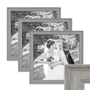 3er Set Bilderrahmen Skandinavischer Landhaus-Stil Grau-Braun 30x30 cm Massivholz mit Shabby-Chic Note / Fotorahmen / Wechselrahmen