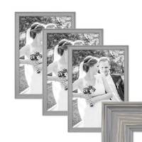 3er Set Bilderrahmen Skandinavischer Landhaus-Stil Grau-Braun 30x40 cm Massivholz mit Shabby-Chic Note / Fotorahmen / Wechselrahmen