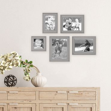 5er Set Bilderrahmen Skandinavischer Landhaus-Stil Grau-Braun 10x10, 10x15, 13x18 und 15x20 cm inkl. Zubehör / Fotorahmen / Wechselrahmen