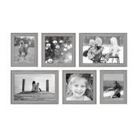 6er Set Bilderrahmen Skandinavischer Landhaus-Stil Grau-Braun 15x20, 20x20 und 20x30 cm inkl. Zubehör / Fotorahmen / Wechselrahmen