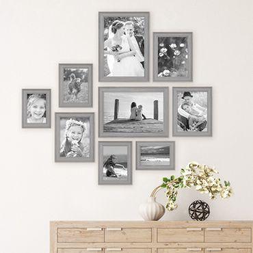 9er Set Bilderrahmen Skandinavischer Landhaus-Stil Grau-Braun 10x15 bis 20x30 cm inklusive Zubehör / Fotorahmen / Wechselrahmen