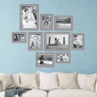 9er Set Bilderrahmen Skandinavischer Landhaus-Stil Grau-Braun 10x15 bis 20x30 cm inklusive Zubehör / Fotorahmen / Wechselrahmen – Bild 3