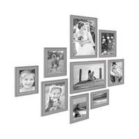 9er Set Bilderrahmen Skandinavischer Landhaus-Stil Grau-Braun 10x15 bis 20x30 cm inklusive Zubehör / Fotorahmen / Wechselrahmen – Bild 2