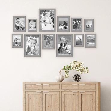 12er Set Bilderrahmen Skandinavischer Landhaus-Stil Grau-Braun 10x15 bis 20x30 cm inklusive Zubehör / Fotorahmen / Wechselrahmen