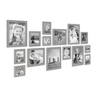15er Set Bilderrahmen Skandinavischer Landhaus-Stil Grau-Braun 10x10 bis 20x30 cm inklusive Zubehör / Fotorahmen / Wechselrahmen – Bild 3