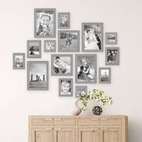 15er Set Bilderrahmen Skandinavischer Landhaus-Stil Grau-Braun 10x10 bis 20x30 cm inklusive Zubehör / Fotorahmen / Wechselrahmen