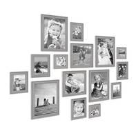 15er Bilderrahmen-Set Skandinavisch Landhaus-Stil Grau-Braun